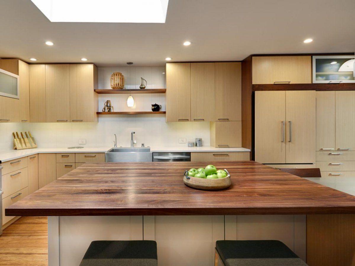 Modern Kitchen Design with Black Walnut Butcher