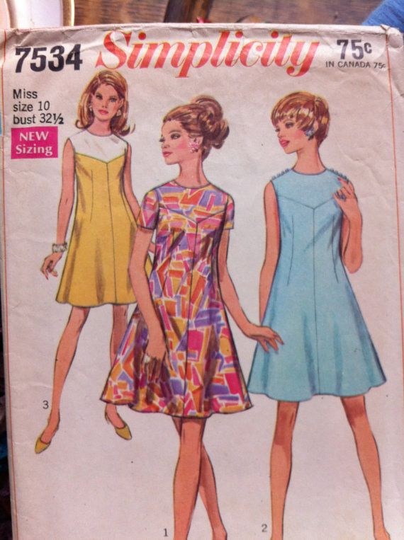 Vintage 1968 Simplicity Pattern 7534 Dress by TwoButtons4ever | Get ...