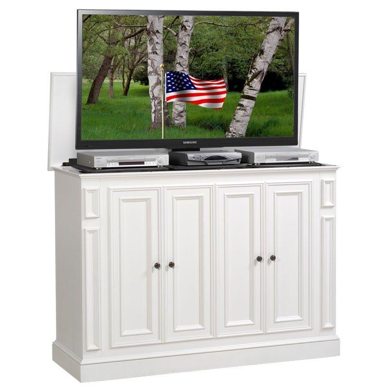 harbor white tv lift cabinet home decor white tv pop up tv rh pinterest com