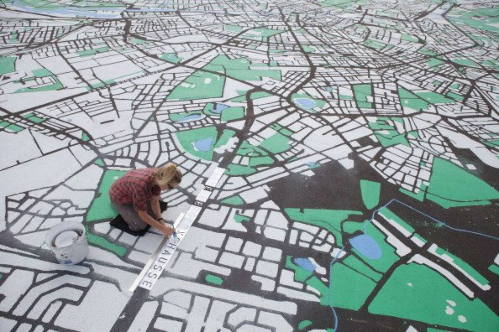 Map Of Germany With Cities%0A Landscape architect Lisa Hankow paints a giant map of Berlin in the city  center on August      in Berlin  Germany  The map  which will measure     meters X