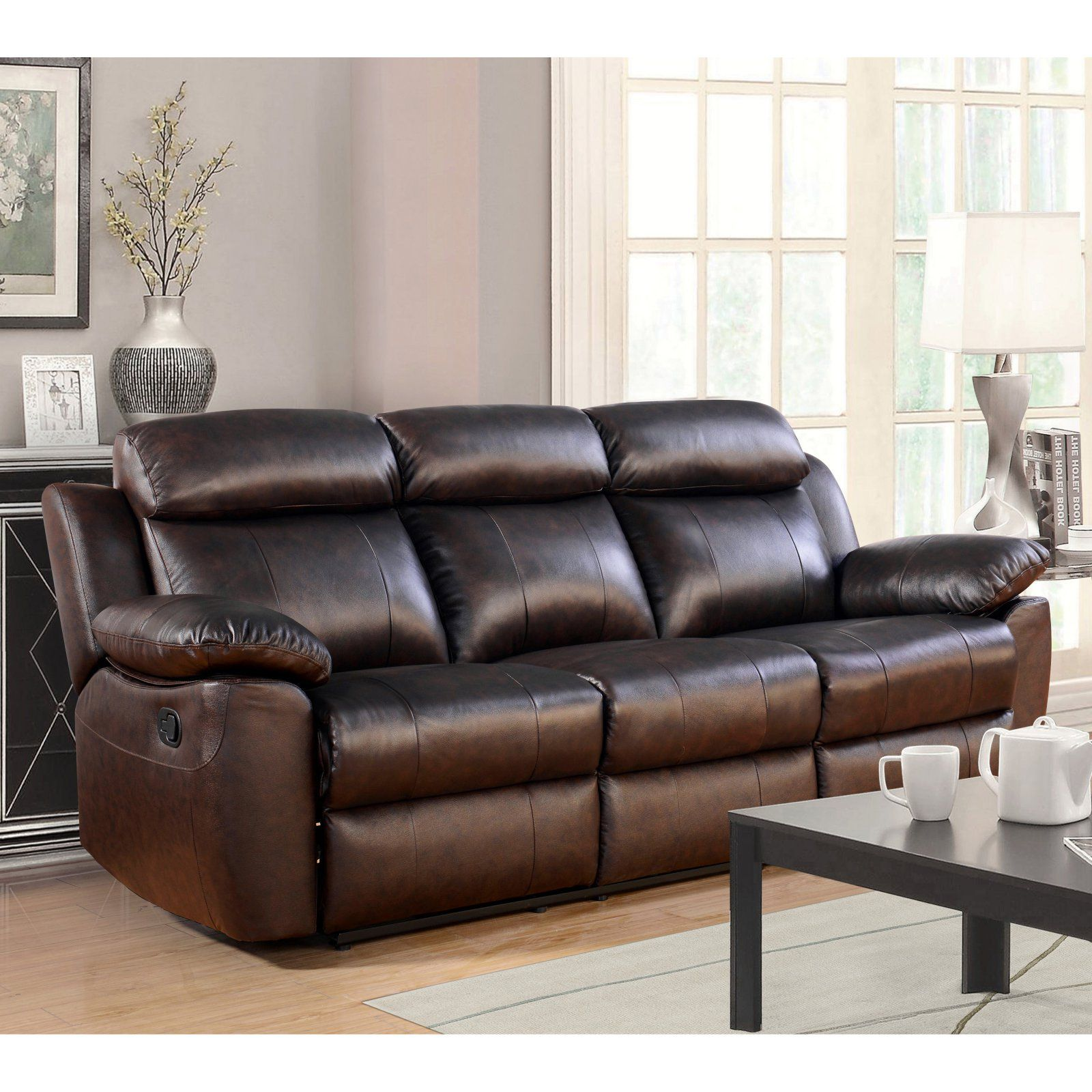 abbyson dominica top grain leather reclining sofa in 2019 products rh pinterest com