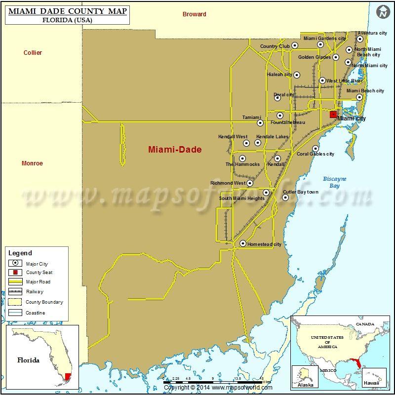 Miami County Map Florida County Map Miami County Miami