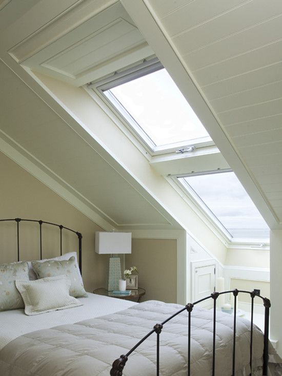 Awesome Conservative Bedroom With Alluring Nobby Attic Windows Design With  Classic Bed Shape With White Thick Quilt Also Modern Table Lamp With Glass  ...