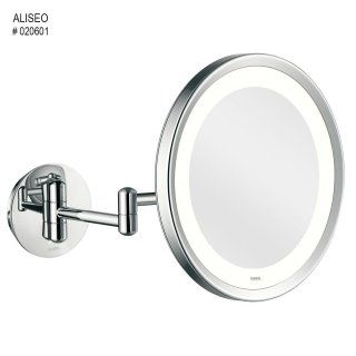aliseo led lunatec round cosmetic mirror on twin arm hotel. Black Bedroom Furniture Sets. Home Design Ideas