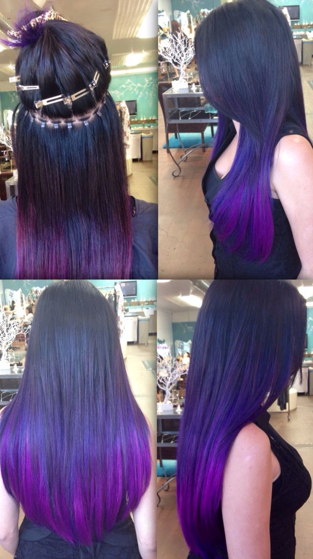 Silicone Beaded Sew In Hair Extensions Brunettepurple Ombr Hair