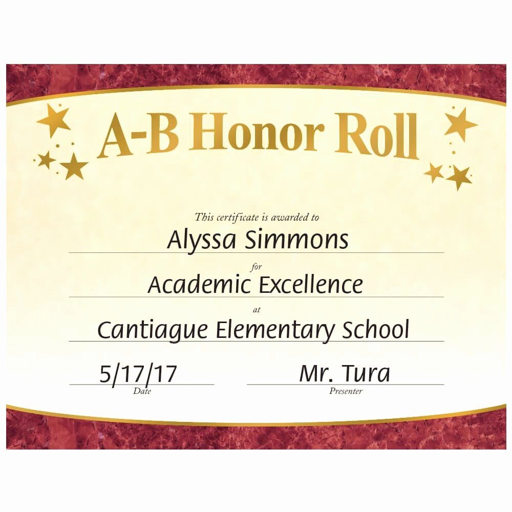 A Honor Roll Certificate Beautiful A B Honor Roll Gold Foil Stamped Certificates Certificate Templates Honor Roll Award Template