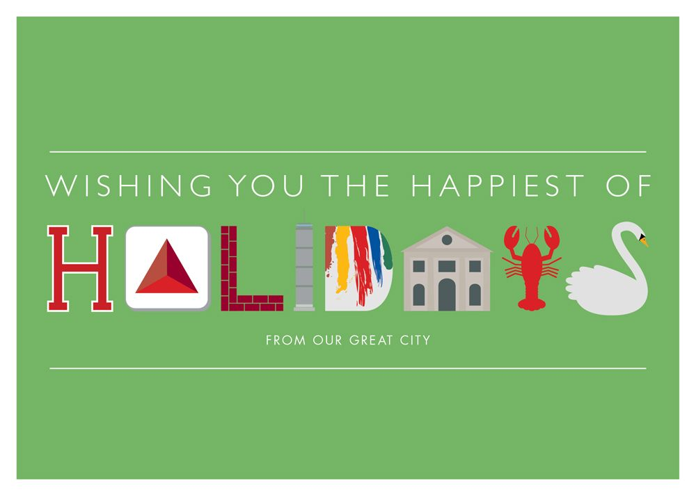 Boston landmark holiday greeting cards from the citgo sign to the swan boats this