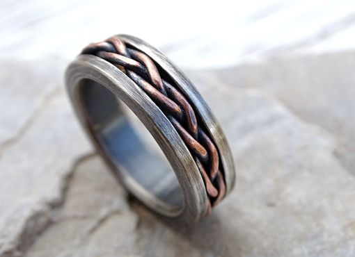 Eheringe Bague Homme Rustic wedding Ring Two-color Man Ring Mens wedding band Forged wedding band rustic hand made Silver and copper