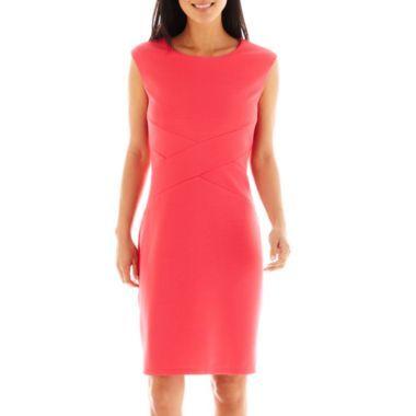 1f23ecd7 CopyKate: Liz Claiborne Sleeveless Textured Knit Sheath Criss Cross Sheath  Dress - JCPenney