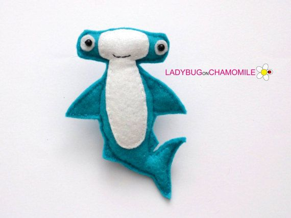 Felt HAMMERHEAD SHARK stuffed felt Hammerhead shark magnet or