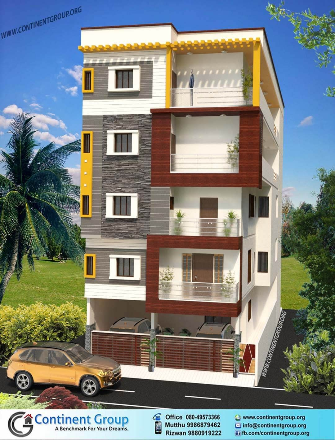 Charming Front Elevation Of Building Part - 10: 3d Building Elevation Bangalore