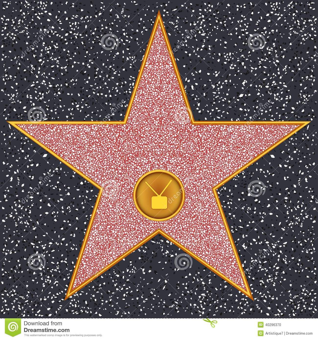 star television receiver hollywood walk of fame stock vector image