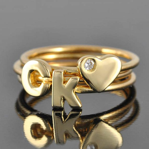 Initial Ring in Gold alphabet ring letter ring personalized