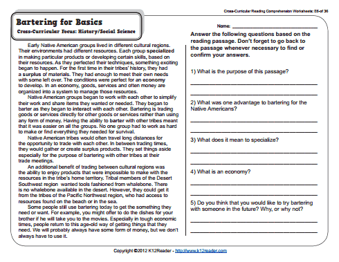 worksheet for 5th grade reading | 5th Grade Reading Comprehension ...