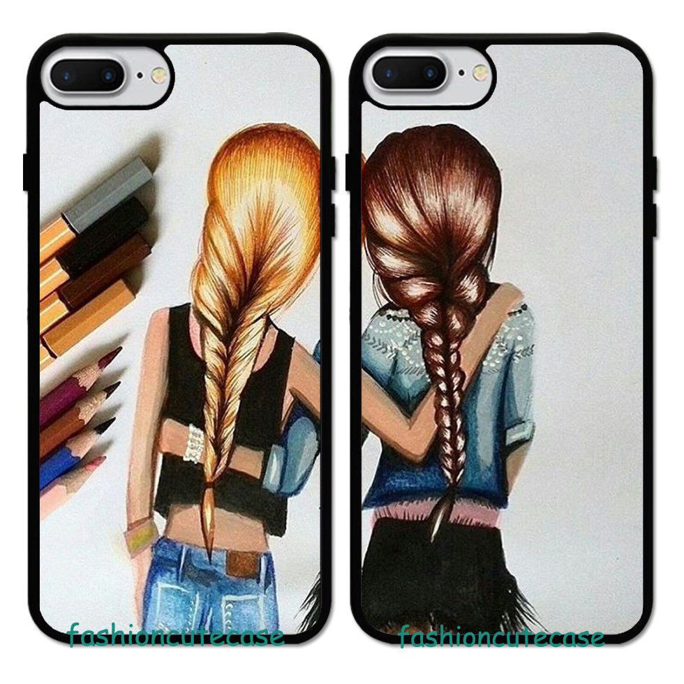 Cute Girl Best Friend Forever Rubber Phone Case Cover For