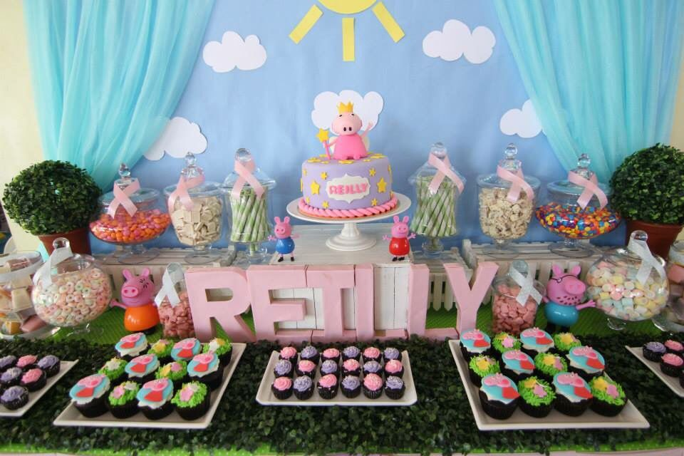 peppa pig birthday candy buffet table reilly 1st birthday pig rh pinterest com