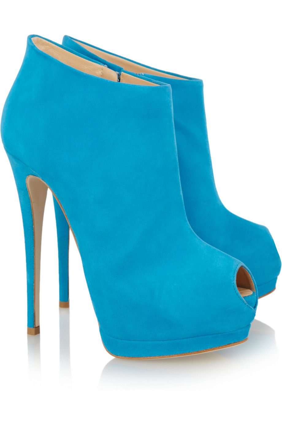 Giuseppe Zanotti Suede peep-toe platform ankle boots This Color is Amazing!