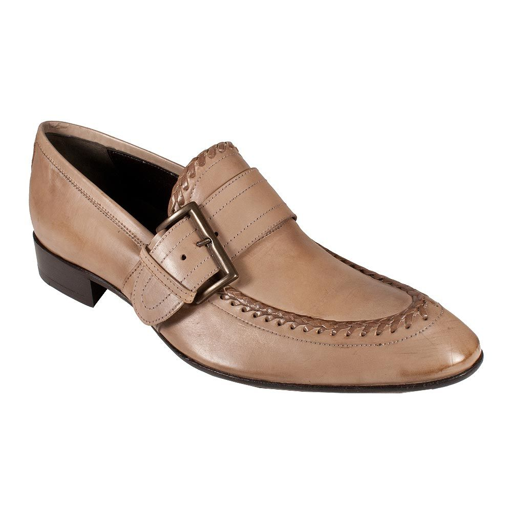 Jo Ghost Shoes 1-Buckle Antique Metal Beige Leather Loafer 1344M (JG1543) Color: Beige Material: Leather Jo Ghost stay classy and stylish by combining phenomenal leathers with their unique remarkable designs. The new outlaw stylishness from the Le Marche