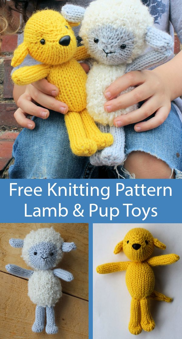 Free Knitting Pattern for Lamb & Pup Toy Softies