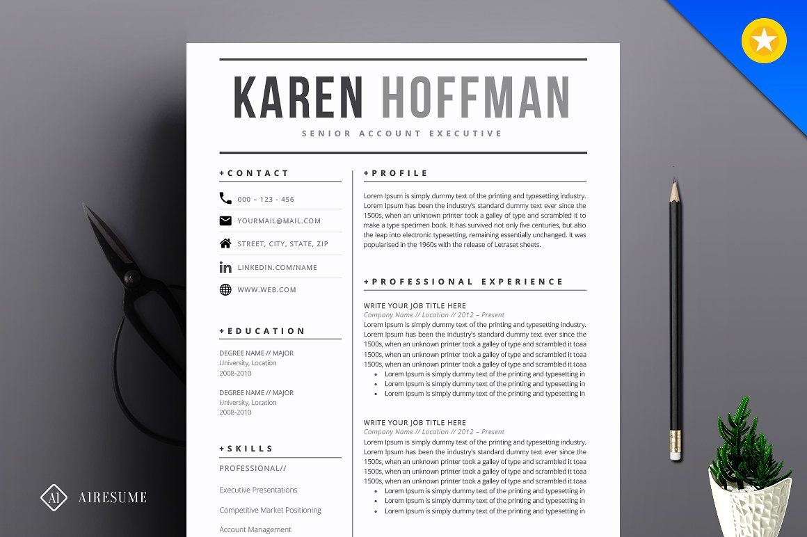 modern resume template by a1resume on  creativemarket