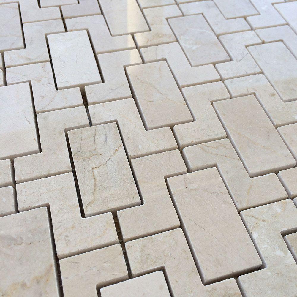 Crema Marfil Fretworks Interlock Mosaic Tile Mosaic Tiles Tiles Tile Trends