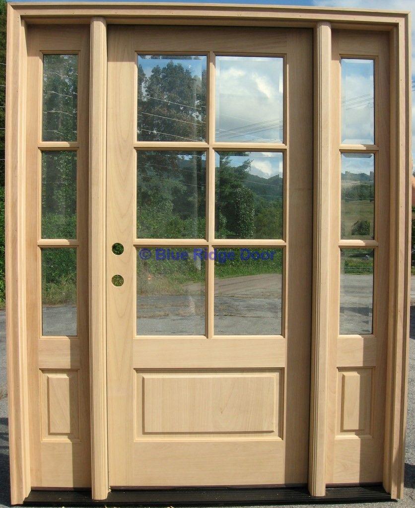 6 Lite Craftsman Prairie Style Mahogany Wood Entry Door W 3 Lite Sidelights Entry Door With Sidelights Entry Doors Exterior Doors
