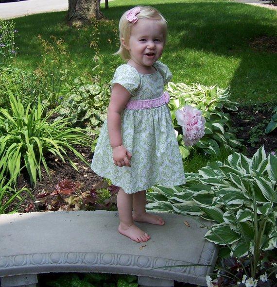2d491608f Girls Summer Dress w/ crochet lace trim Flower Girl party little dress  green turquoise aqua red blac
