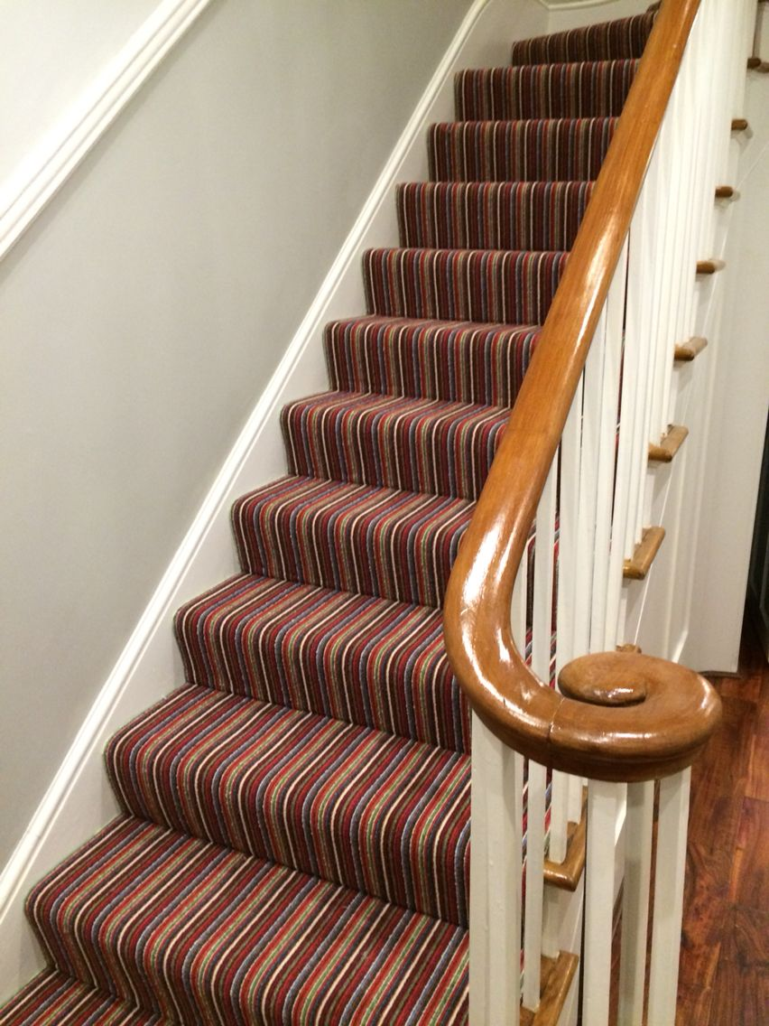 Hallway Striped Carpet On Stairs Victorian Homes Hall