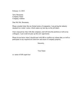 This Printable Resignation Provides A Departing EmployeeS Two