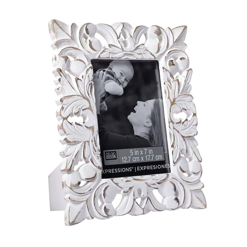 Whitewash Fleur De Lis 5 X 7 Frame Expressions By Studio Decor Studio Decor Shabby Chic Picture Frames Tabletop Picture Frames