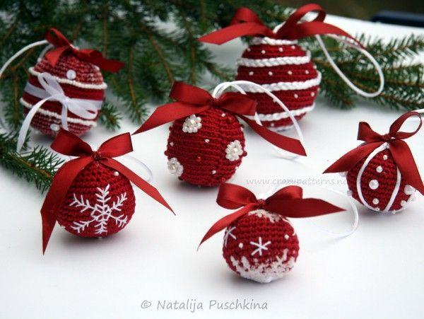 Weihnachtskugeln - 3 Großen und 6 Designs - Häkelanleitung | Für ...