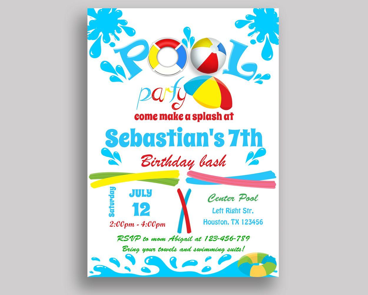 Splish Splash Birthday Invitation Splish Splash Birthday Party ...
