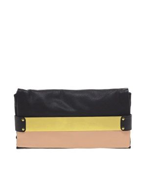 ASOS Leather Two Tone Plate Clutch Bag