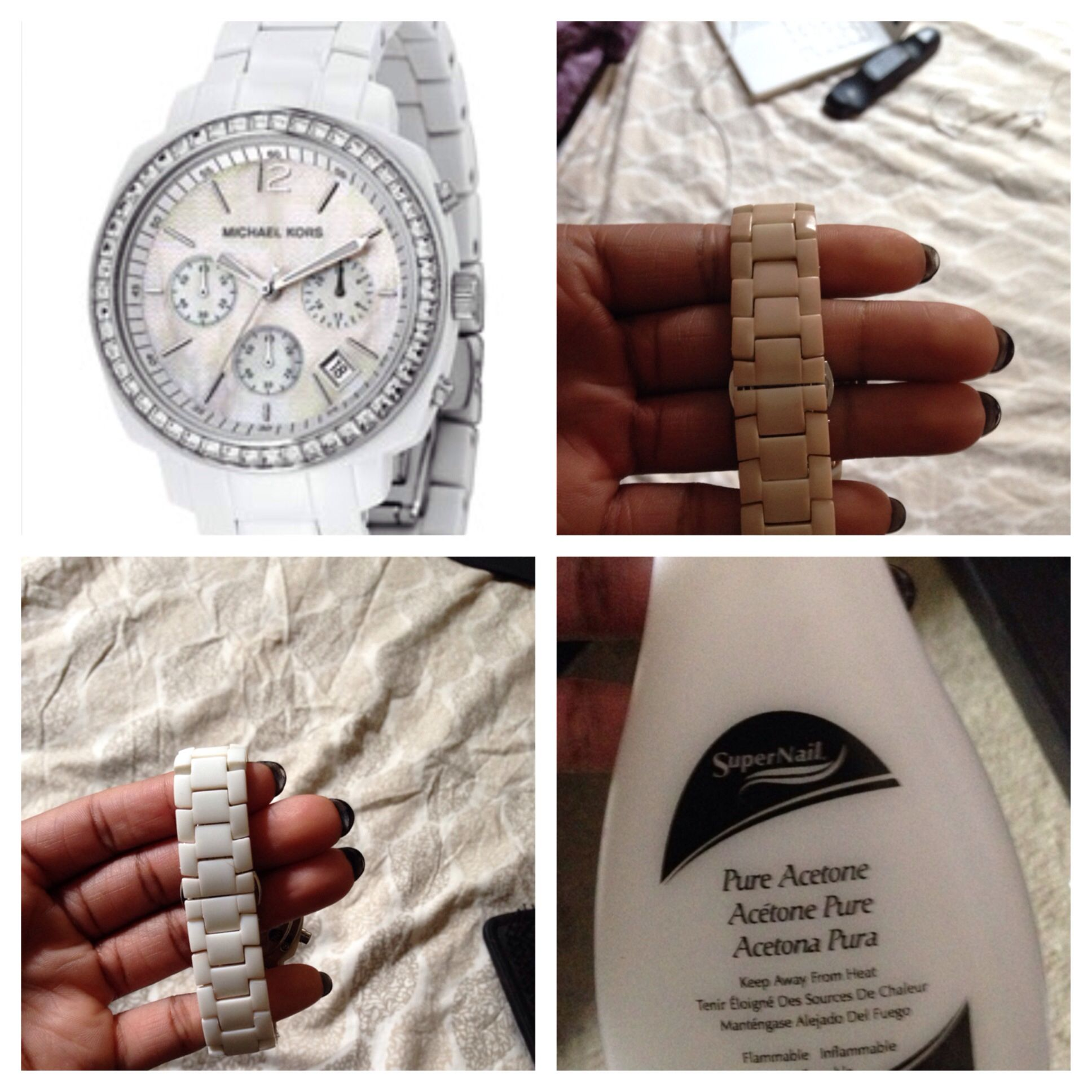 e30a7786bdce I used Pure Acetone nail polish remover to clean my white Ceramic Michael  Kors watch.