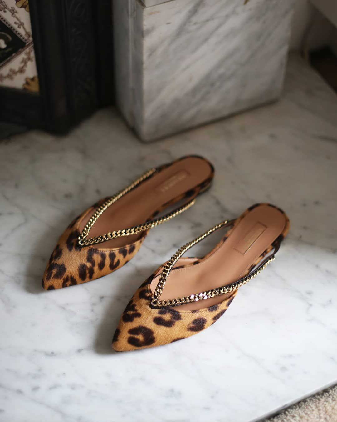 c3bd71adb0c The  aquazzura  Sabine  Leopard  print  mules are dishing out all things   on-trend .