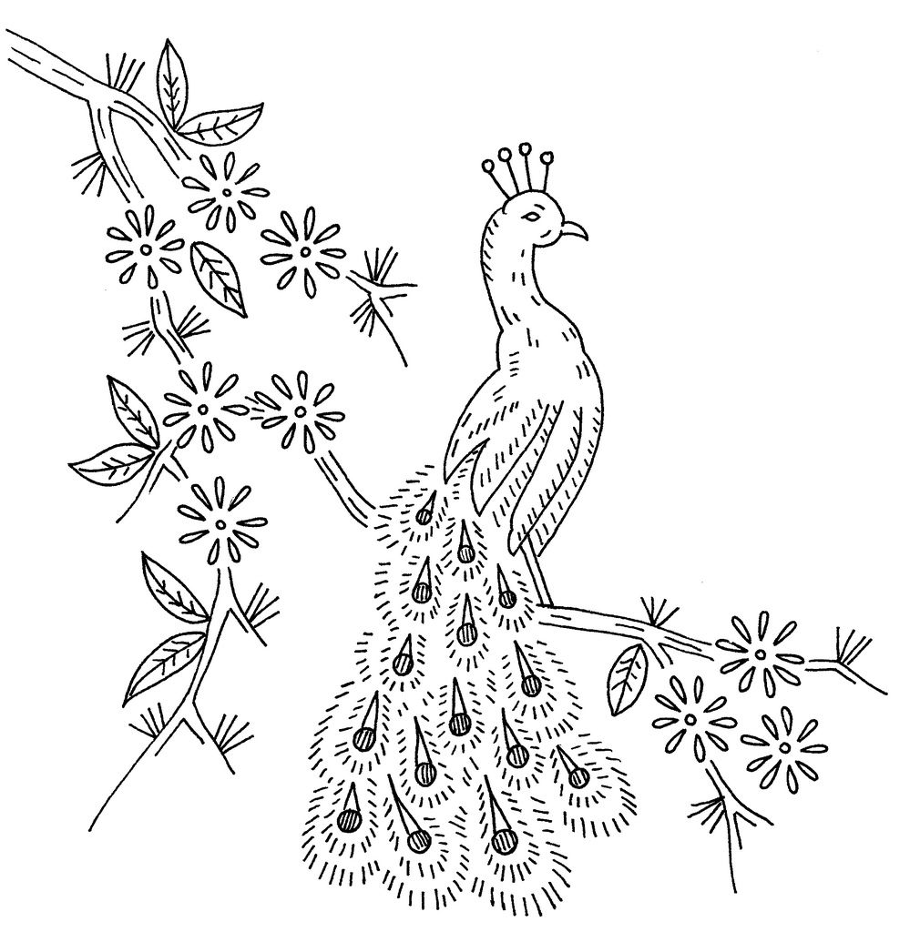 Vintage Embroidery Pattern Peacock Vintage Embroidery Patterns
