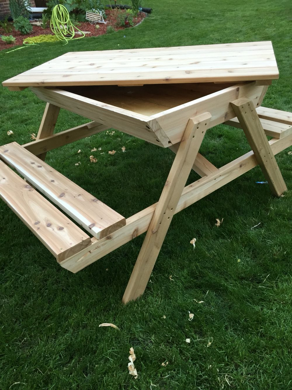 kids picnic table sand box cedar picnic table ice chest picnic rh pinterest fr