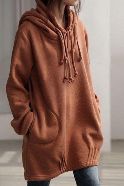 2eca86ee257 ... Women Casual O Neck Hooded Hoodies Long Sleeve Pockets Fleece Thick.  Solid Color Long Sleeve Loose Pullover Hoodie BROWN  Sweatshirts