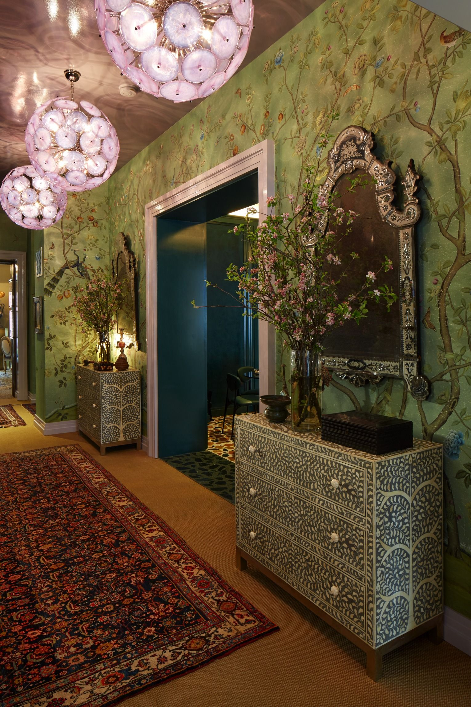 A chinoiserie inspired wall panel by de Gournay