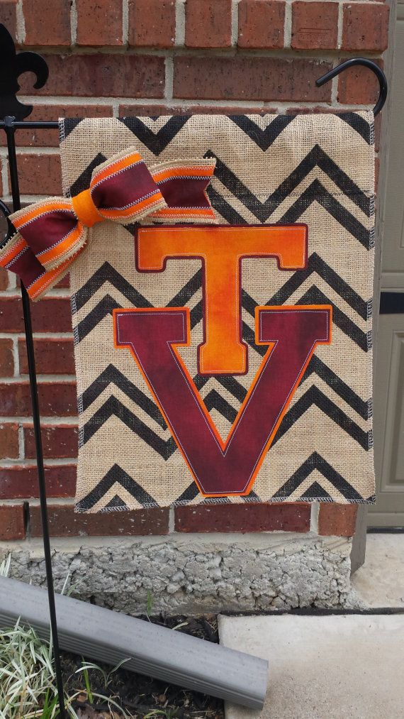 Bon Vintage Virginia Tech Logo Burlap Garden Flag By RKCreativeDesign
