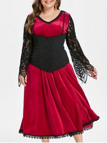 halloween lace insert corset a line dress  plus size