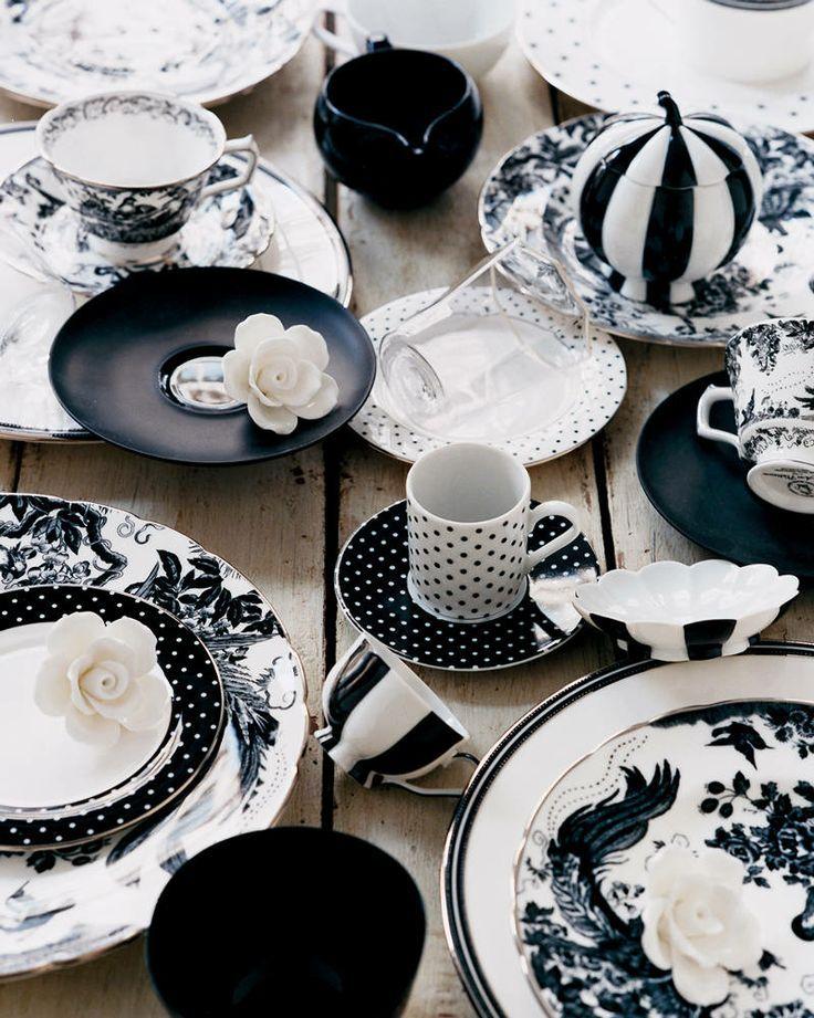 Black And White Dishes Black And White Dishes White Tableware White Dinnerware