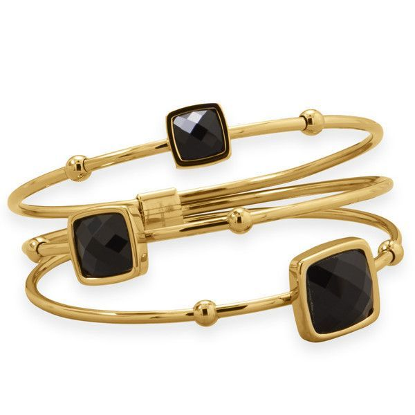 Three Row Gold Stainless Steel Bangle with Faceted Cushioned Glass (Available in 2 Colors)