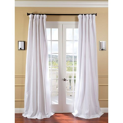 White Faux Silk Taffeta Single Panel Curtain 50 X 84