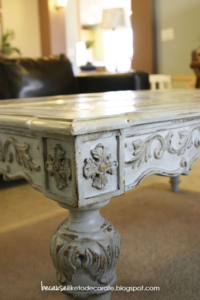 French Style Coffee Table Makeover Using Ascp Light Wax