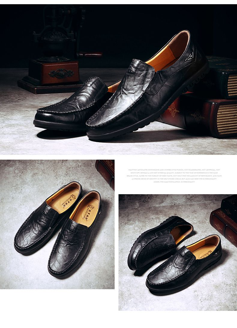 Grande taille38-47 Nouveau Casual Homme Mocassins cuir Chaussure Business Chaussures bateau 7ggEb215