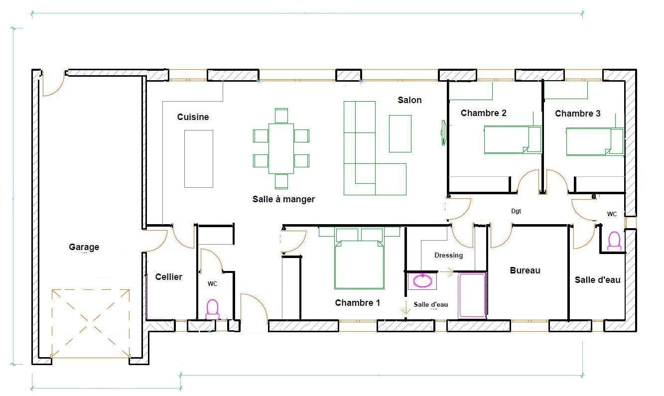 Plan maison 120m2 plain pied plan maison pinterest for Plan maison en longueur