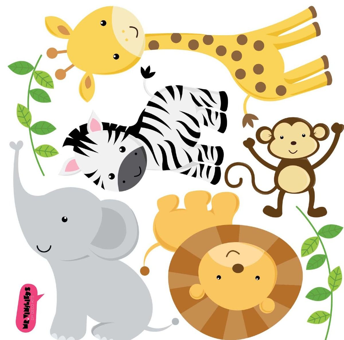 Vinilo Decorativo Kit Animales De La Selva | Tarjetas de animales ...