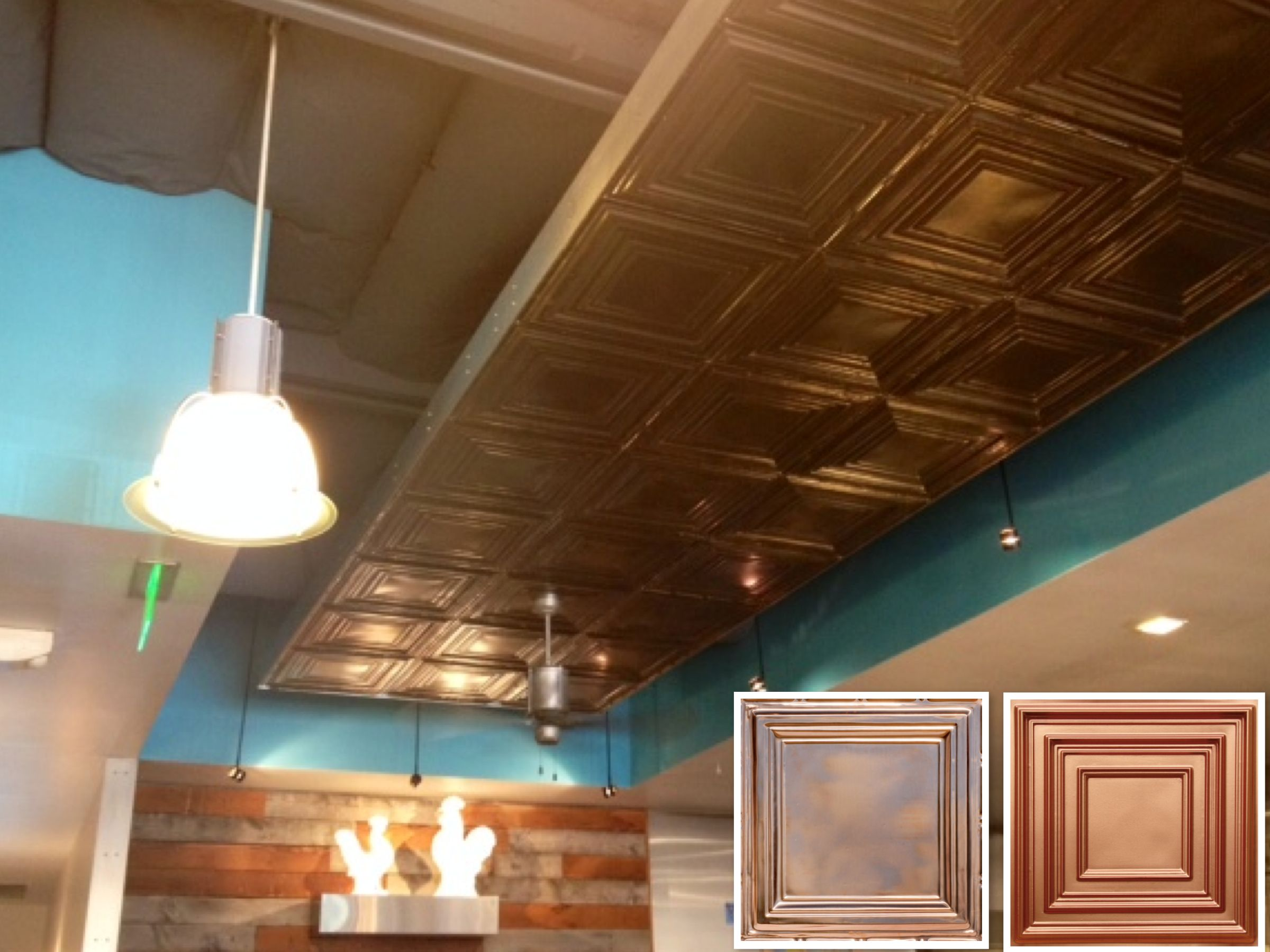 Restaurant ceiling decor inspiration mendocino farms marina del no need to tile the entire ceiling instead create a copper tiled accent ceiling like the one at this iconic los angeles sandwich eatery doublecrazyfo Gallery