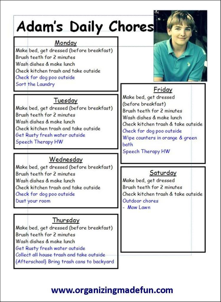 Kids - Chore Charts and Schedules Like the daily chore list - sample chore list